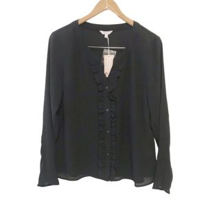 NEW Candie's black ruffle front semi sheer top
